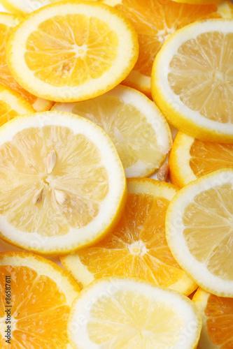 Spoed Foto op Canvas Plakjes fruit stack of citrus fruits slice. Oranges and lemons.