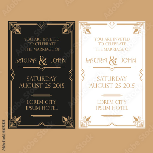 Photo  Wedding Invitation Card - Art Deco Vintage Style