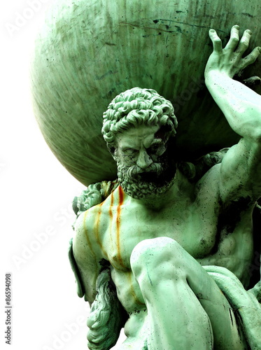 Canvas Prints Historic monument Statue of Atlas Statue of Atlas isolated on white background.