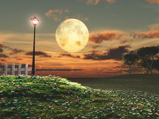 Farola y luna llena