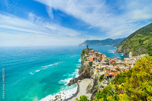 Fototapeta Old town on the rocks Liguria Italy obraz