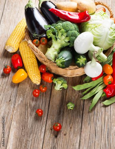 Fotobehang Different vegetables in a basket