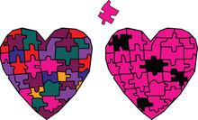 Heart Mosaic Broken Into Pieces  Puzzle Vector