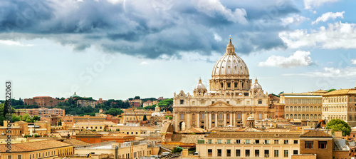 Fototapeta Rome cityscape and skyline, St Peter's basilica in Vatican, Italy obraz