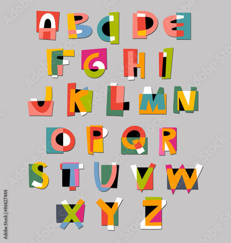 Fotografie, Obraz  Abstract alphabet font. Paper cut-out style