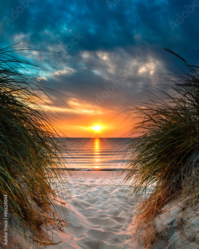 Fototapeta Personal Paradise on a Beautiful White Sand Beach at Sunset obraz