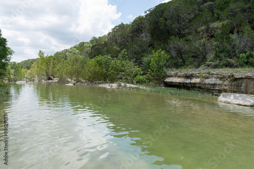 Poster Texas Peaceful waters in the beautiful green Hill Country of Texas