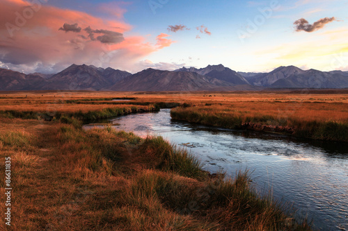 Evening over the Owens River near Mammoth Lakes, CA Poster