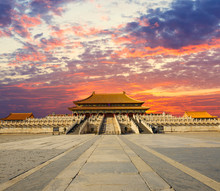 Forbidden City  In The Sunset, In Beijing China