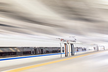 High Speed Train At The Railwa...