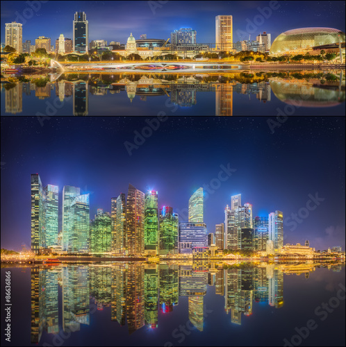 Set of Singapore Skyline and view in Marina Bay Poster