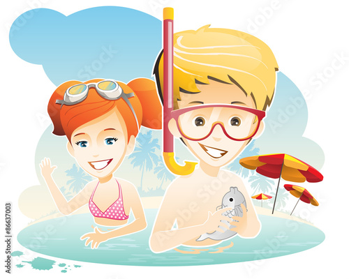 Valokuva  Summer holiday / kids have fun at the sea