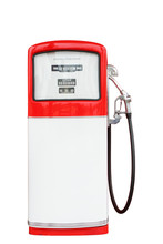 Red And White Vintage Gasoline Fuel Pump With Clipping Path.