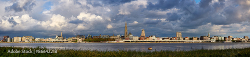 Canvas Prints Antwerp Evening cloudy panorama of the City of Antwerp