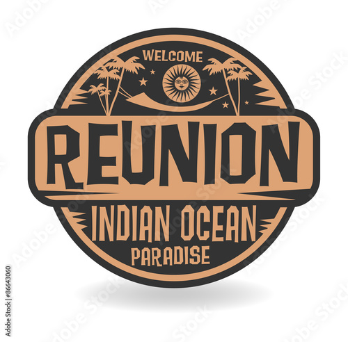 Garden Poster Retro sign Stamp or label with the name of Reunion, Indian Ocean