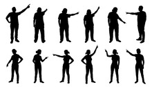 People Pointing Silhouettes