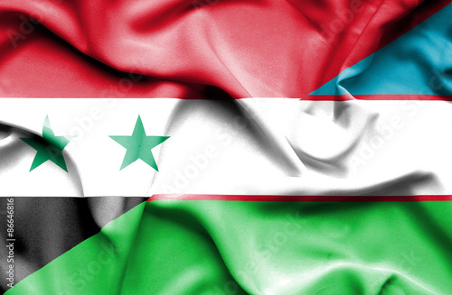 Poster Algérie Waving flag of Uzbekistan and Syria