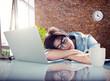 Businesswoman Sleeping Office Worker Break Digital Device Concep