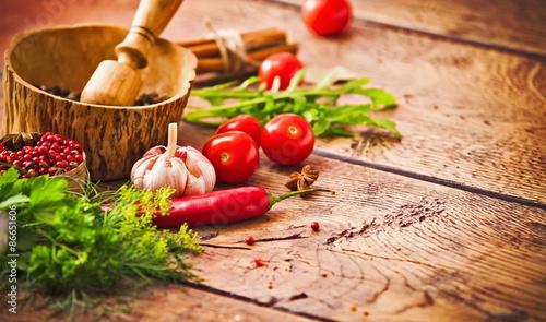 Printed kitchen splashbacks Spices Spices and ingredients