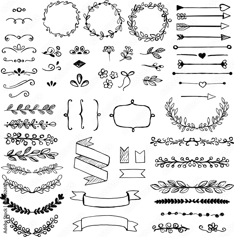 Fototapeta Set of doodle design elements