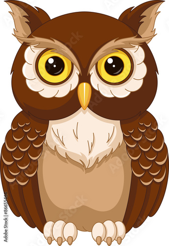 Deurstickers Uilen cartoon Owl coloring page