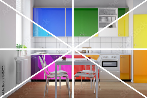 Bunte Kuche In Regenbogenfarben Buy This Stock Illustration And