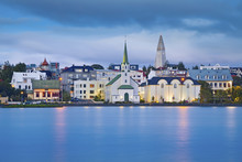 Reykjavik, Iceland. Image Of Reykjavik, Capital City Of Iceland, During Twilight Blue Hour.