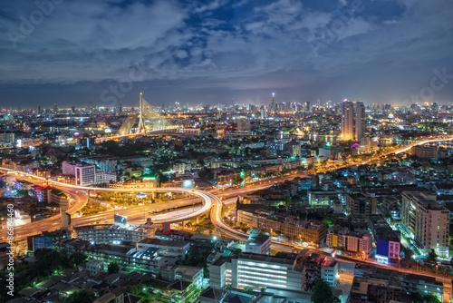 Fototapeta Bangkok Expressway and Highway top view, Thailand obraz na płótnie