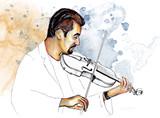 Рисунок-иллюстрация,,Музыкант играет на скрипке,, . - 86665668