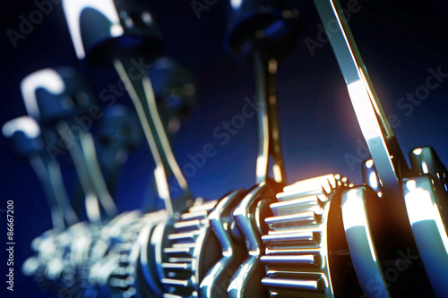 Fotografie, Obraz  3d rendered illustration of engine pistons and cog wheels with depth of field ef