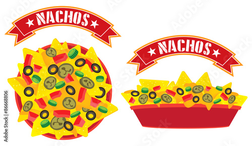 Fotografía  Supreme cheese mexican nachos plate with banner high angle view and side view il