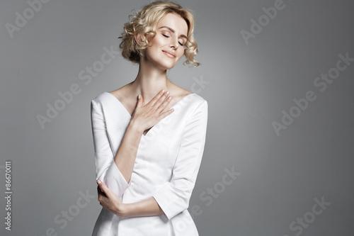 Printed kitchen splashbacks Artist KB Glamour young lady wearing trendy white dress