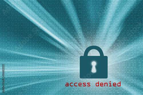 Fotografie, Obraz  Access denied - turquoise color closed padlock with binary code background