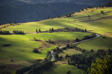 Green mountains hills landscape, Bieszczady, Poland
