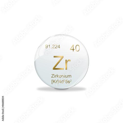 Fotografie, Obraz  Periodensystem Kugel - Zirkonium 40