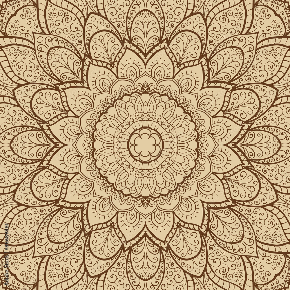 Fototapety, obrazy: Card with mandala. Hand-drawn highly detailed round elements. Vector vintage decorative elements. Islam, Arabic, Indian, Turkish, Ottoman, Pakistan motifs.