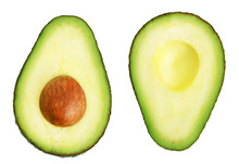 Two Slices Of Avocado Isolated...