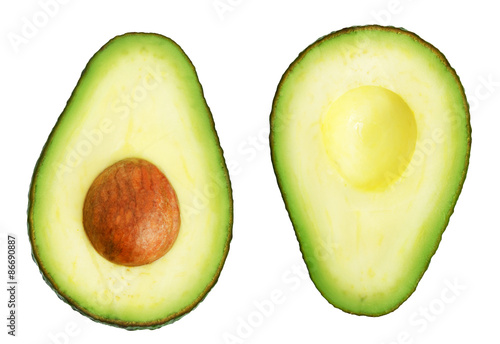 Canvastavla Two slices of avocado isolated on the white background