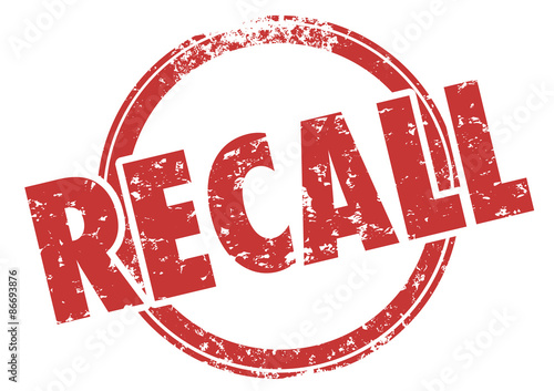 Recall Word Red Stamp Defective Product Fix Repair Tablou Canvas