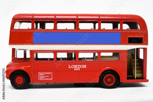 Fotobehang Londen rode bus Red bus isolated on white background.