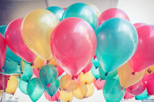 Fototapeta colorful balloons with happy celebration party background obraz