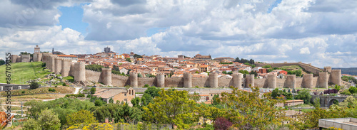 Panorama of fortified medieval city Avila