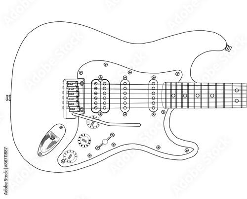 Cuadros en Lienzo Electric Guitar Outlines
