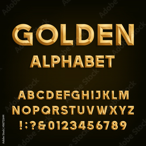 Golden Beveled Font  Vector Alphabet  Gold effect beveled