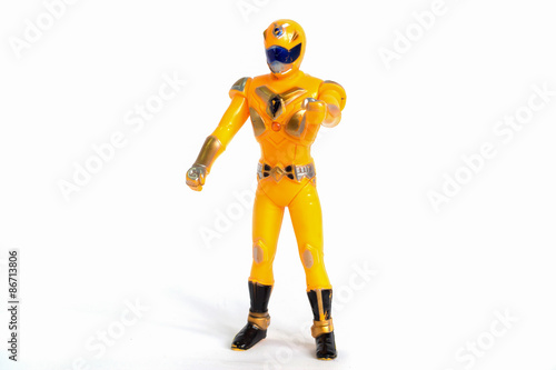 Obraz na plátně Robot Toys Yellow isolated white background