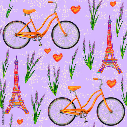 Cotton fabric Seamless Paris French pattern with Eiffel Tower, bicycle, lavender flowers. Perfect for wallpapers, pattern fills, web page backgrounds, surface textures, textile