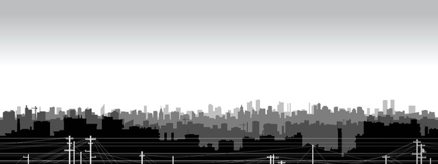 Panel Szklany Panoramic view of black and white city silhouette.