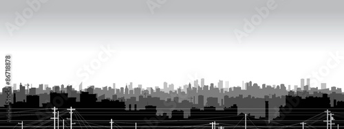 Fotografie, Obraz  Panoramic view  of black and white city silhouette.