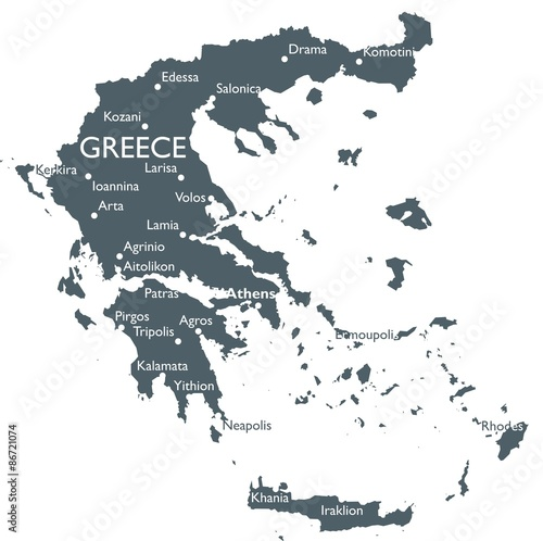 Canvas Print Greece map
