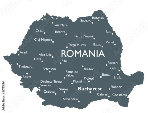 Romania map Canvas Print
